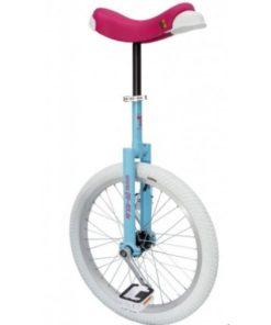 Qu-ax luxus eenwieler blauw 20 inch, roze zadel